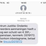 Nep-sms namens incassobureau 'Intrum Justitia'